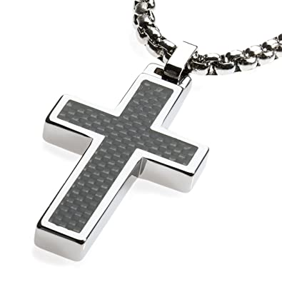 Unique gestalt tungsten cross pendant 4mm surgical stainless steel unique gestalt tungsten cross pendant 4mm surgical stainless steel box chain black carbon fiber inlay 22 inch chain amazon aloadofball Choice Image