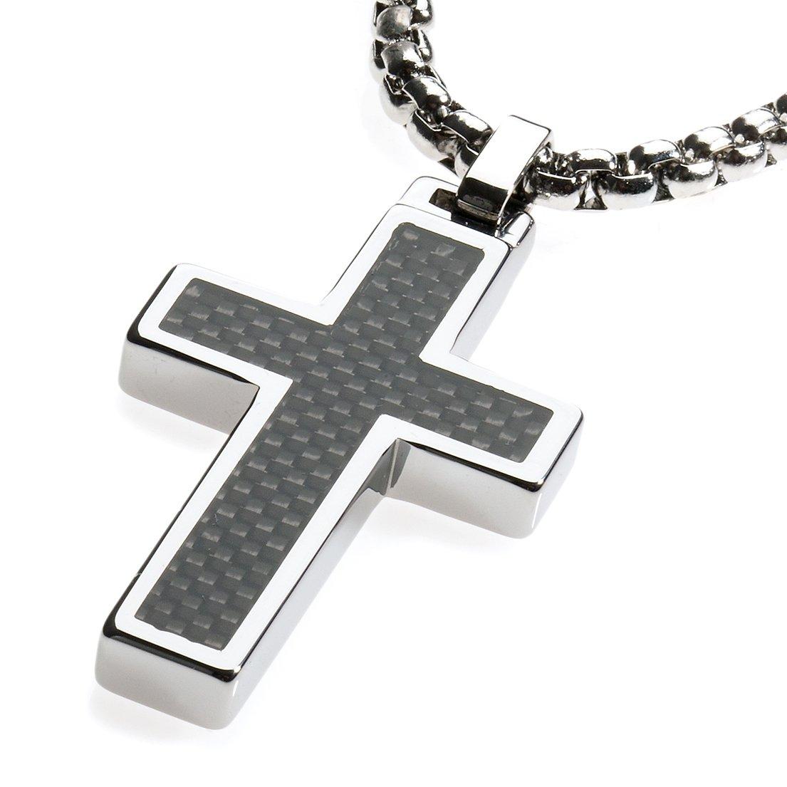 Unique GESTALT Tungsten Cross Pendant .4mm Surgical Stainless Steel Box Chain. Black Carbon Fiber Inlay. 22 inch Chain.
