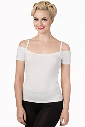 436dd3724f4e52 Hell Bunny Banned Cold Shoulder Reminisce Bardot Top - White (L - UK 14)   Amazon.co.uk  Clothing