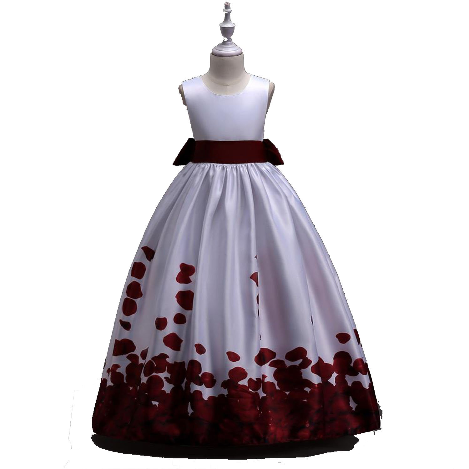Flower Girl for Wedding Party Dress Long with Bow Print Formal Gown,Wine red,Child-6