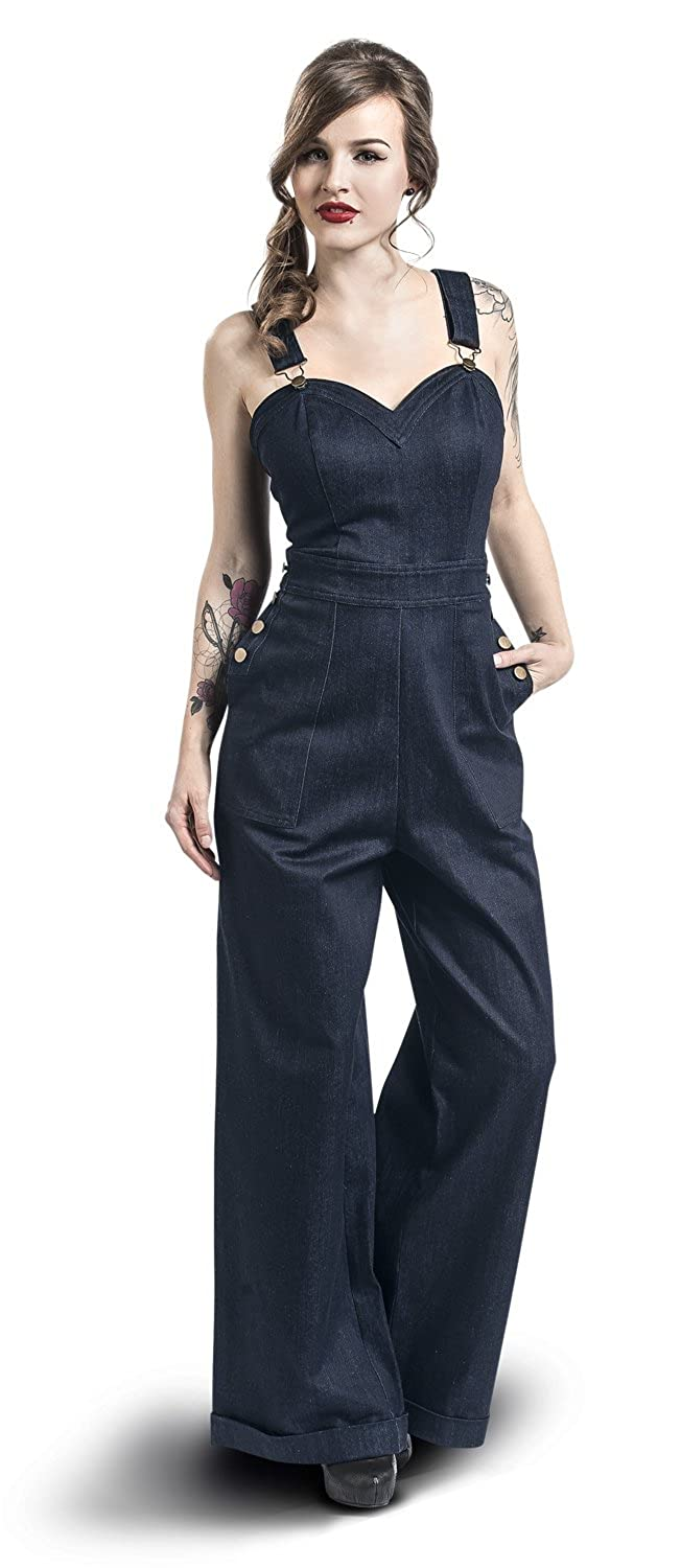 Rosie the Riveter Costume & Outfit Ideas Voodoo Vixen Marlene Dungarees Jumpsuit Blue £51.99 AT vintagedancer.com