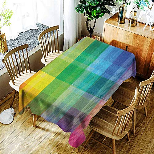 XXANS Large Rectangular Tablecloth,Vintage Rainbow,Retro Plaid Design Checkered Squares Rainbow Colored Geometric Pattern,High-end Durable Creative Home,W60x120L - Vintage Pony Plaid