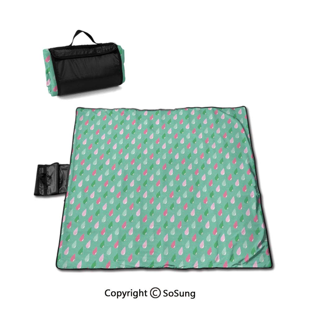 Home Decor Picnic Blanket with Tote,Original Funny Teardrops Rain Shower Textured Pattern Children Baby Girl Image Sandproof & Waterproof Picnic Mat Tote for Camping Hiking Grass Travelling,Pink Green by SoSung