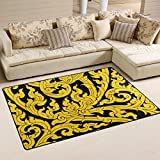 DEYYA Thai Art Tree Leave Non-slip Area Rug Rugs for Living Room Decoration 60 x 39 Inch