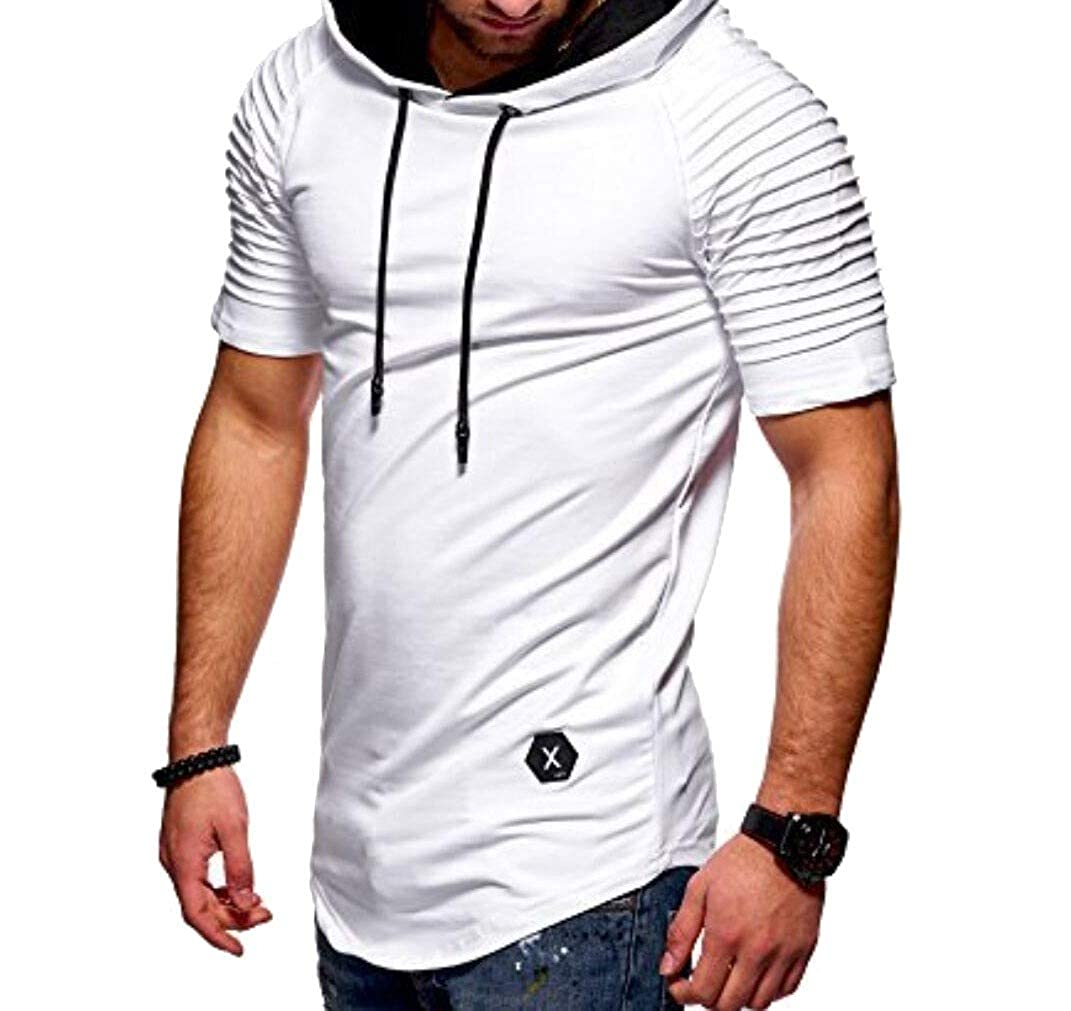 SportsX Mens Casual Activewear Striped Draped Hoodie Active Tee Tops Shirts
