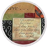 Pixels Round Beach Towel With Tassels featuring ''Words To Live By Love'' by Debbie DeWitt