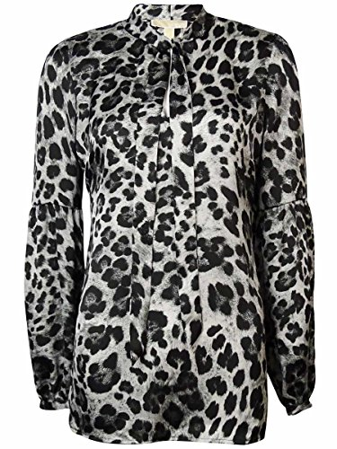 Michael Kors Yesler Leopard-Print Blouse with Tie in White Size S