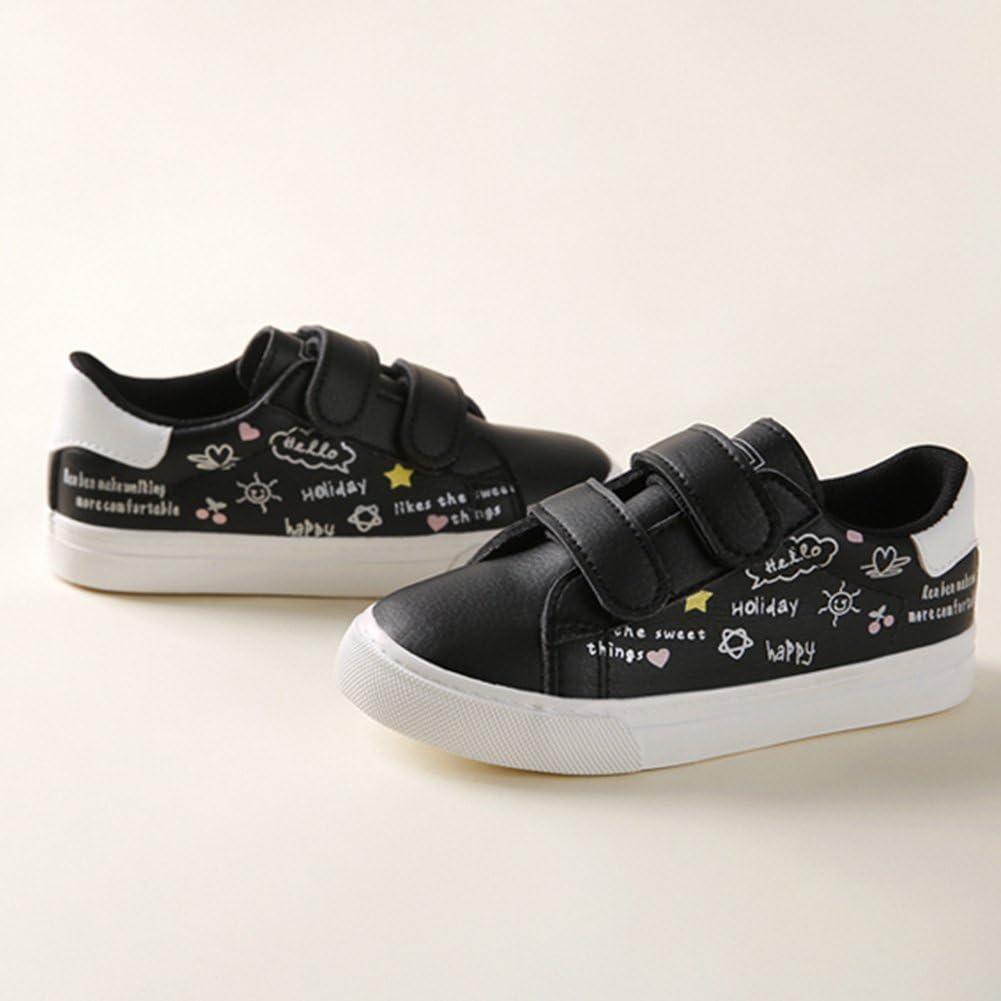 SFNLD InStar Kids Super Cute Print Round Toe Low Top Hook and Loop Straps Sneakers Shoes