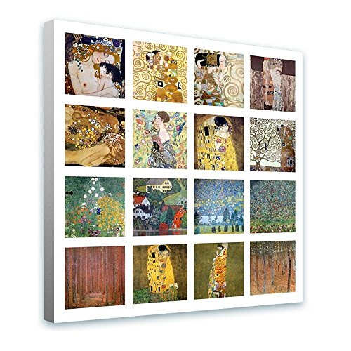 Alonline Art - Collage #12 Kiss Lady Fan Apple by Gustav Klimt | framed stretched canvas on a ready to hang frame - 100% cotton - gallery wrapped | 28