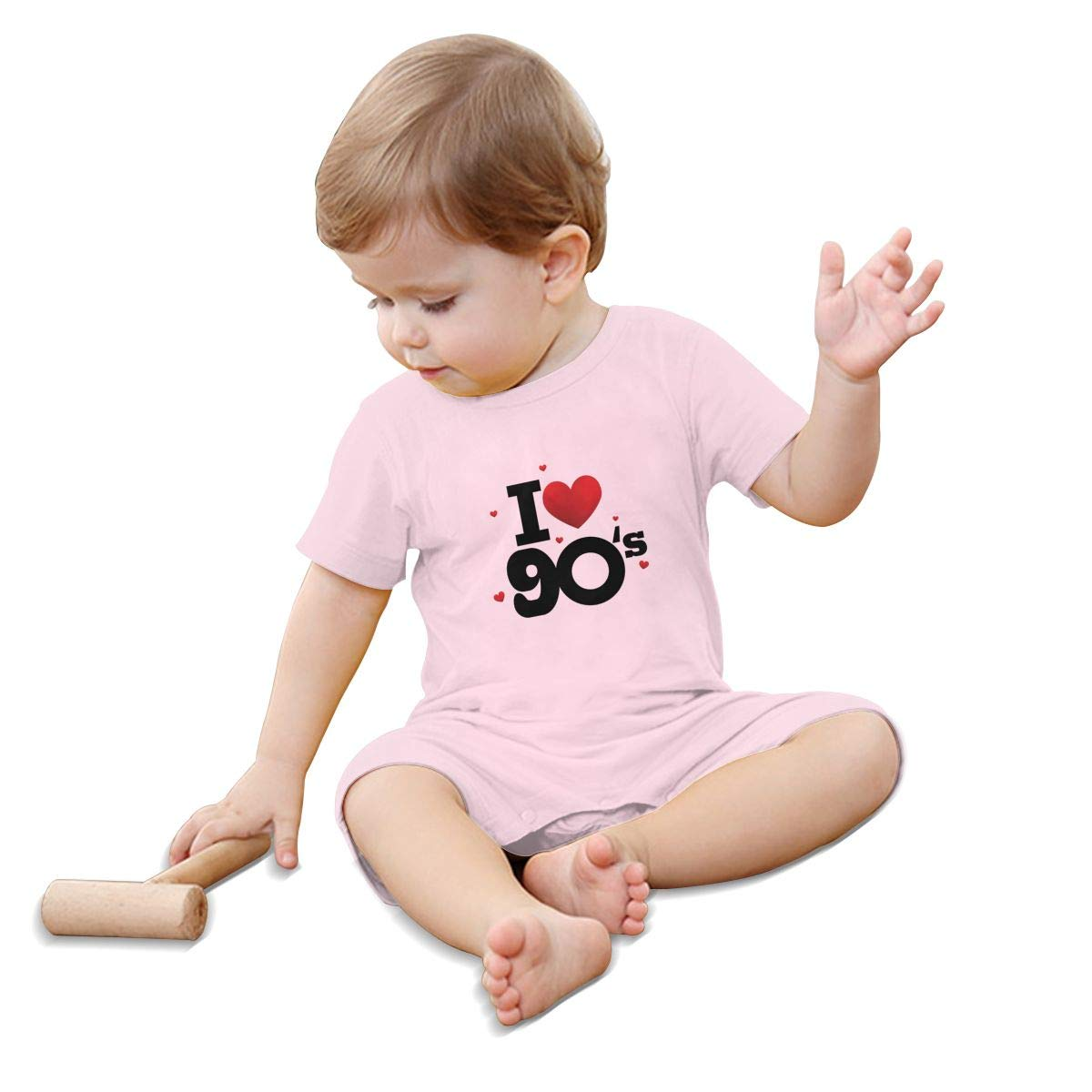 90s,I Love 90s Hearts Good Old Days Generic Child O Neck Short Sleeve Jumpsuit
