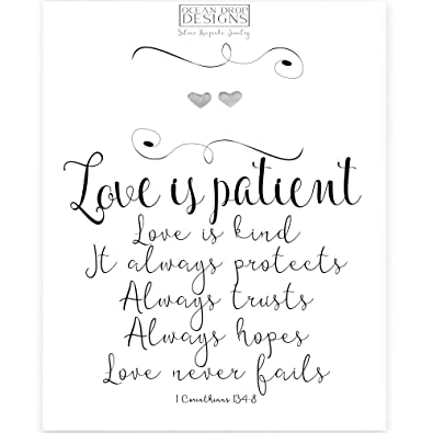 amazon com silver heart stud earrings with love is patient quote