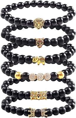 6pcs uniques bracelet perlé punk ensemble femmes accessoires de mode pratiques