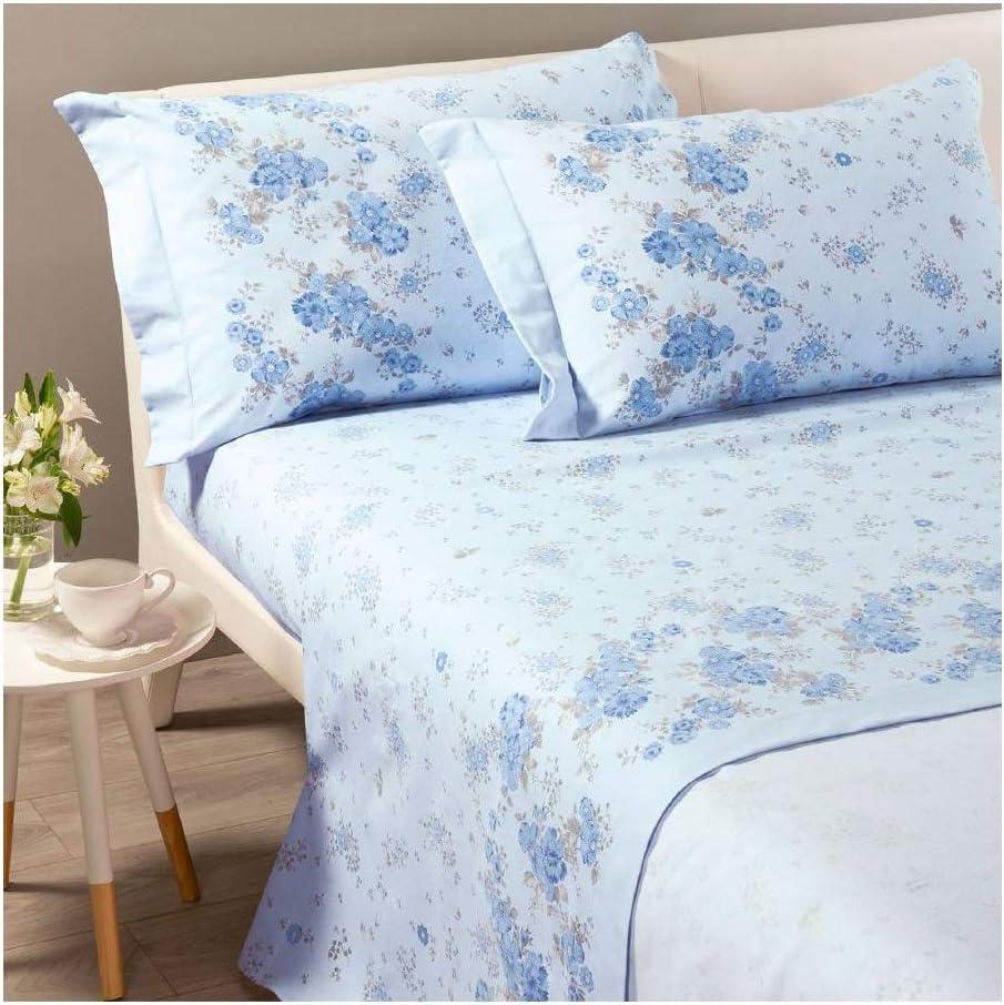 Completo Lenzuola Di Cotone Letto Matrimoniale Bouquet Azzurro Biancheria Da Letto Casa E Cucina