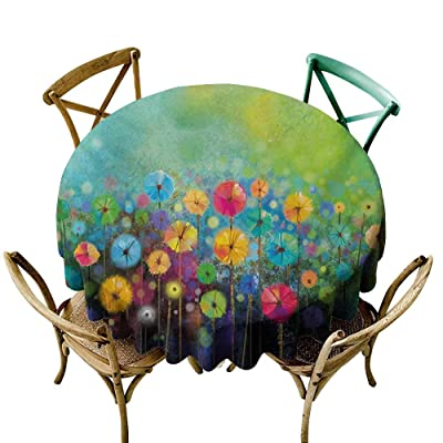 Wendell Joshua The Pattern Round Table Cloth 60 inch Flower,Dandelions Featured in Garden with Brushstrokes Watercolored Abstract Landscape Art,Multicolor Suitable for Indoor Outdoor Round Tables: Home & Kitchen
