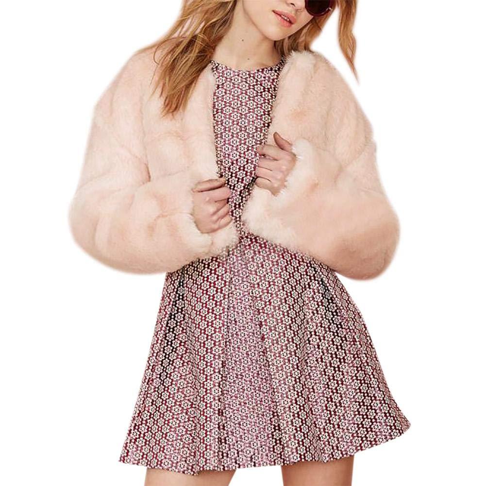 New-look Womens Faux Fur Short Coat Winter Warm Faux Fur Coat Fashion Solid Fur Short Ackets Parka Outerwear Tops