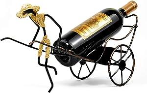 Wine Bottle Holder Stand Rickshaw Decor Caddy countertop Table top Wine Rack Single-Bottle Home Gift Kitchen Gift Wine Shelf