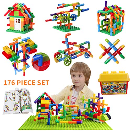 burgkidz Pipe Building Blocks Toy, Creative STEM Tube Locks Construction Sets, 176 Pieces Interlocking Educational Sensory Kit, STEAM Preschool Learning Toys for Boys and Girls