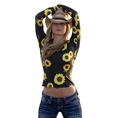 Kaiki Fashion Women Sunflower Print Tops Long Sleeve O-Neck Casual T-Shirt  Black