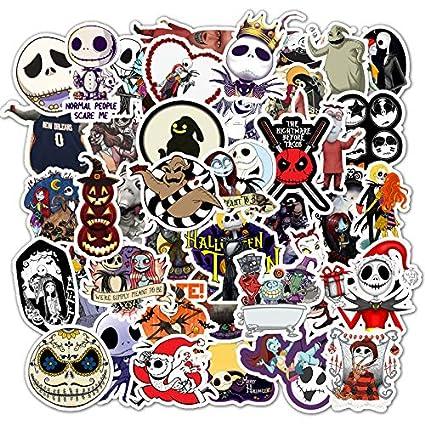 Ghost Stickers The Nightmare Before Christmas Stickers Pumpkin King Jack Skellington Halloween Christmas Theme Stickers 50 Pcs Stickers Pack For Water Bottle /& Laptop /& Skateboard /& Luggage /& Car