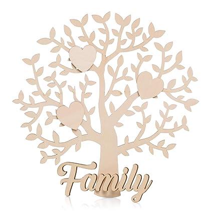Juego De árbol Familiar En Blanco Con Corazones De Madera Placa De
