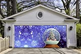 Christmas Snow Globe Garage Door Covers Banners Outdoor Holiday Merry Christmas Full Color Decorations Billboard for 2 Car Garage Door House Art Murals size 82x188 inches DAV52