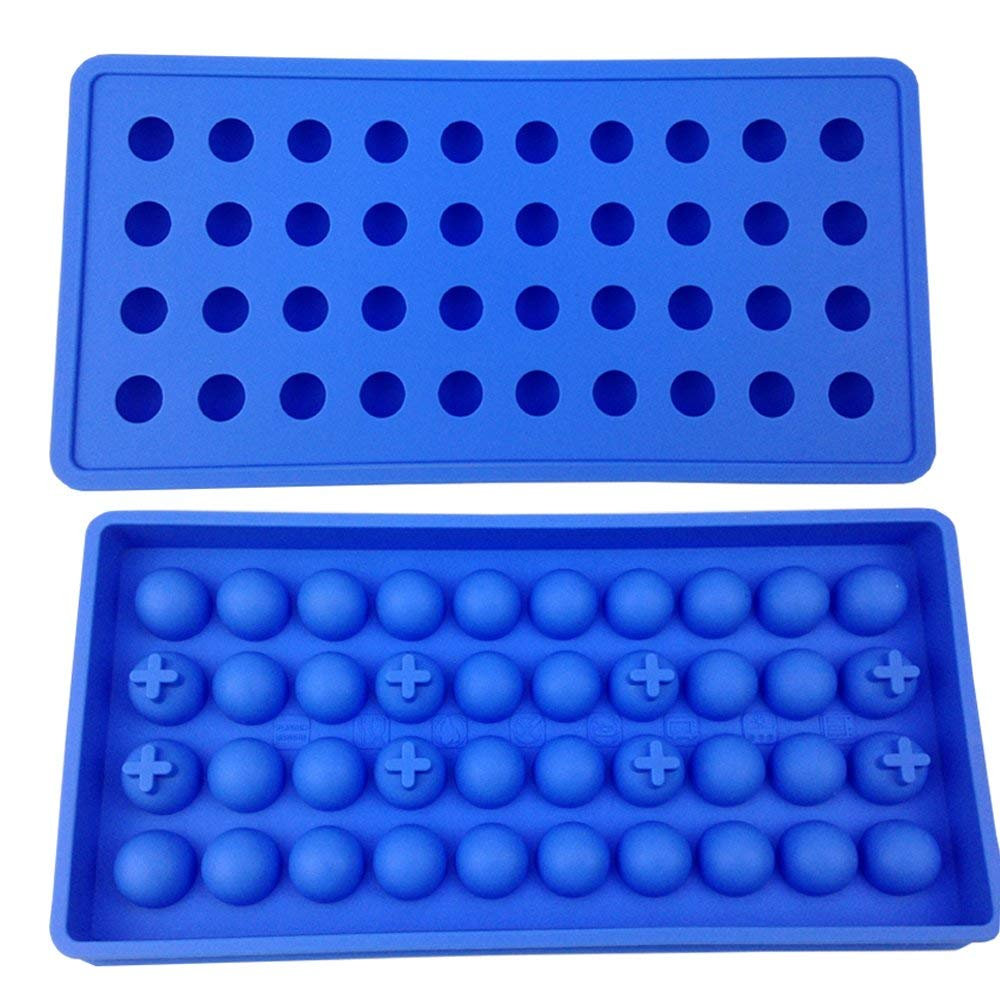 Mydio 40 Tray Mini Ice Ball Molds DIY Molds Tool for Candy pudding jelly milk juice Chocolate mold or Cocktails & whiskey particles,Pale Blue