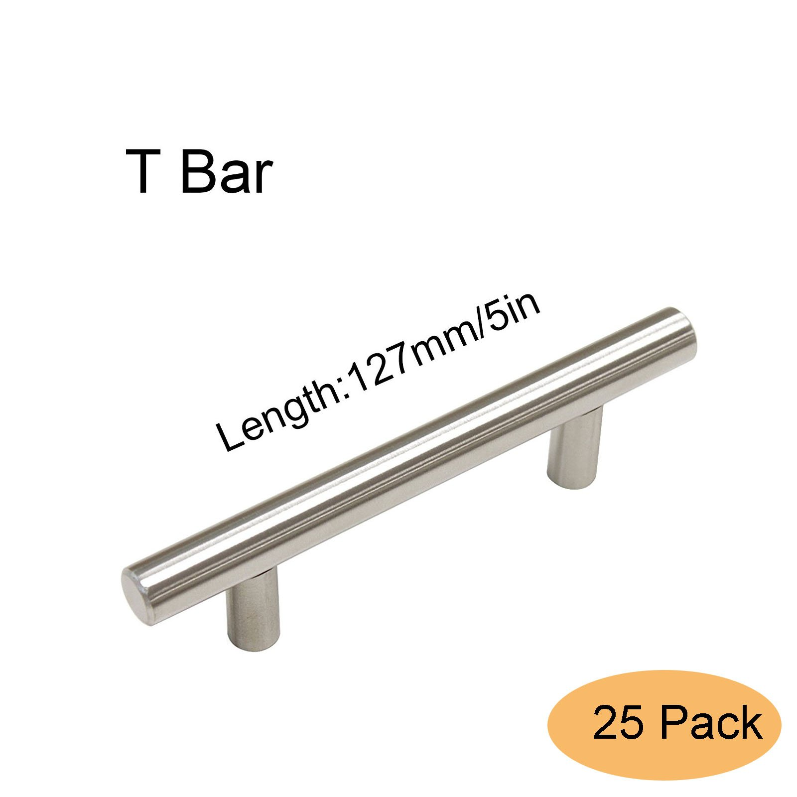 Gobrico Kitchen Cabinet T Bar Handle Stainless Steel Furniture 3in Drawer Dresser Pull Knob Hardware 25 Pack ( Center to Center:76mm, overall Length:5in)) by Gobrico