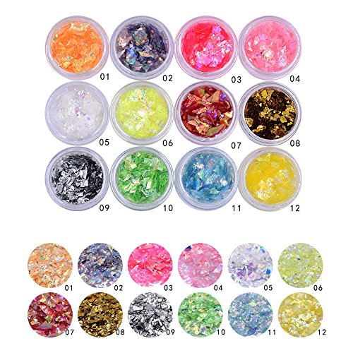 Minejin Nail Art Glitter Foil Slice Glass Broken Piece Stickers Decoration Decal Tips 12 colors