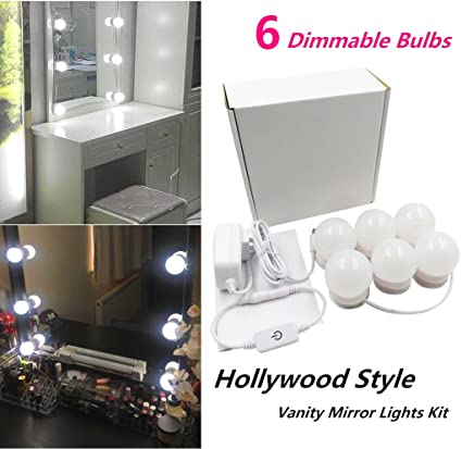Hollywood Style Led Vanity Makeup Mirror Lights Kit With 6 Dimmable