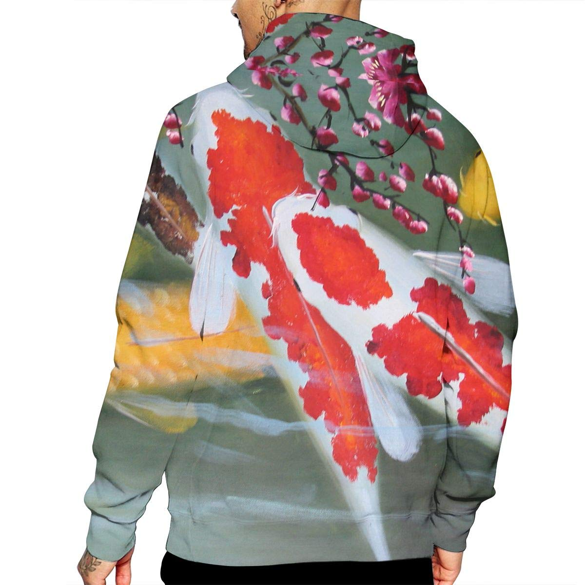 Koi Fish Mans Long Sleeve Hoodie Casual Pocket Hooded Sweatshirt