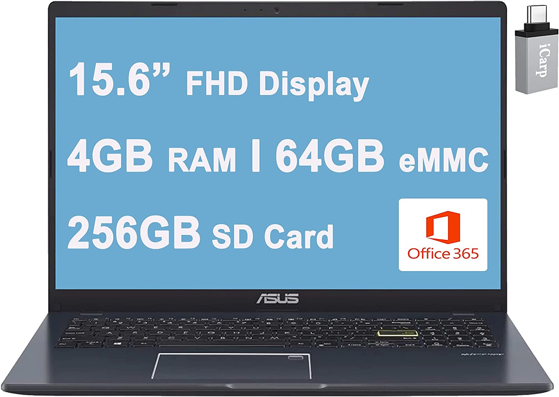 "2021 Flagship Asus Vivobook L510 Ultra Thin Business Laptop 15.6"" FHD Intel Celeron N4020 4GB RAM 64GB eMMC + 256GB SD Card Backlit Fingerprint USB-C HDMI Office 365 Win10 + iCarp USB-C Adapter"