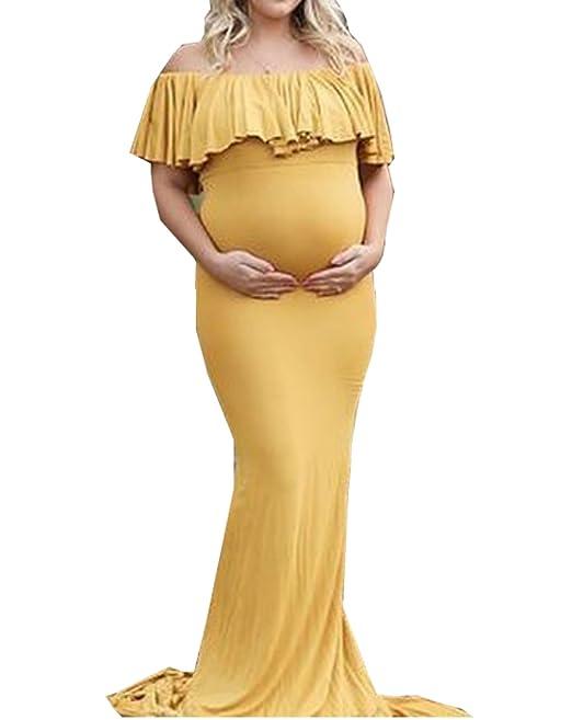 Mujer Embarazada Volante Largos Vestido de Fiesta Foto Shoot Dress Fotográficas de Maternidad Apoyos De Fotografía