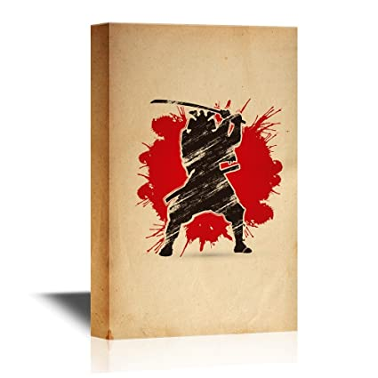 wall26 - Japanese Culture Canvas Wall Art - Japanese Ninja on Abstract Background - Gallery Wrap Modern Home Decor | Ready to Hang - 12x18 inches