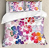 Hawaiian Duvet Cover Set by Ambesonne, Exotic Floral Print Island Theme Tropical Hawaii Flowers Pattern Art Print, 3 Piece Bedding Set with Pillow Shams, Queen / Full, Purple Red Orange