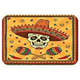 VROSELV Custom Door MatMexicanDecoration Collection Mexican Sugar Skull Cartoon Carnival Traditional Celebration Image Pattern Orange Teal Green