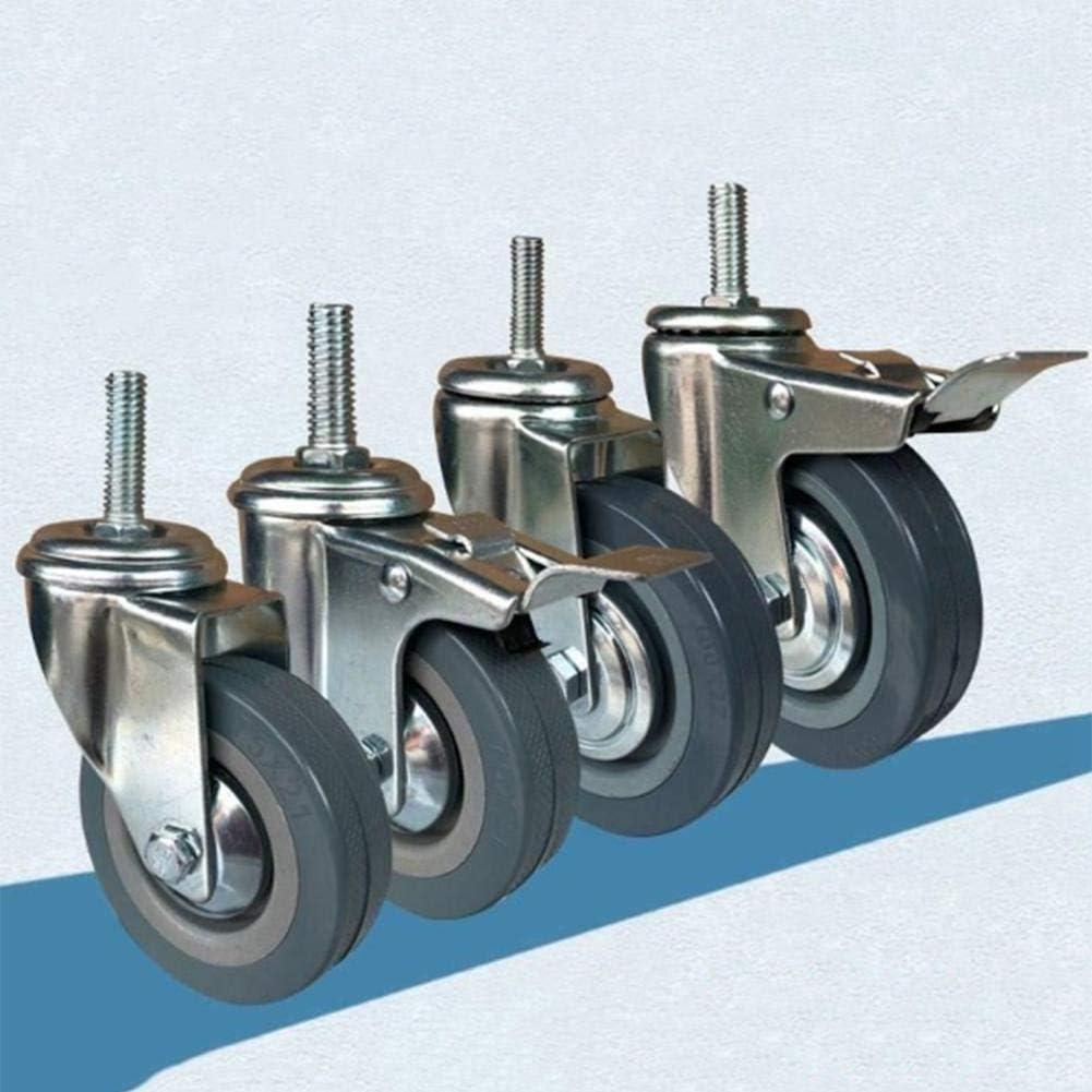 Metallgummirollen Schwerlast-Transportrollen Schrauben M10 // M12 Lenkrollen X4 3//4 Zoll
