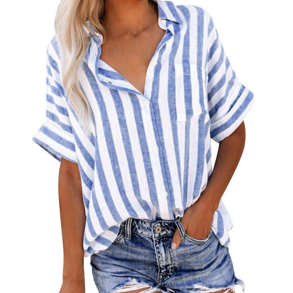 Sommer Atmungsaktives Oberteil Elegante Tops L/ässige Loses Bluse Lucky Mall Damen Mode Gestreiftes Kurzarm Revers Hemd mit Knopf
