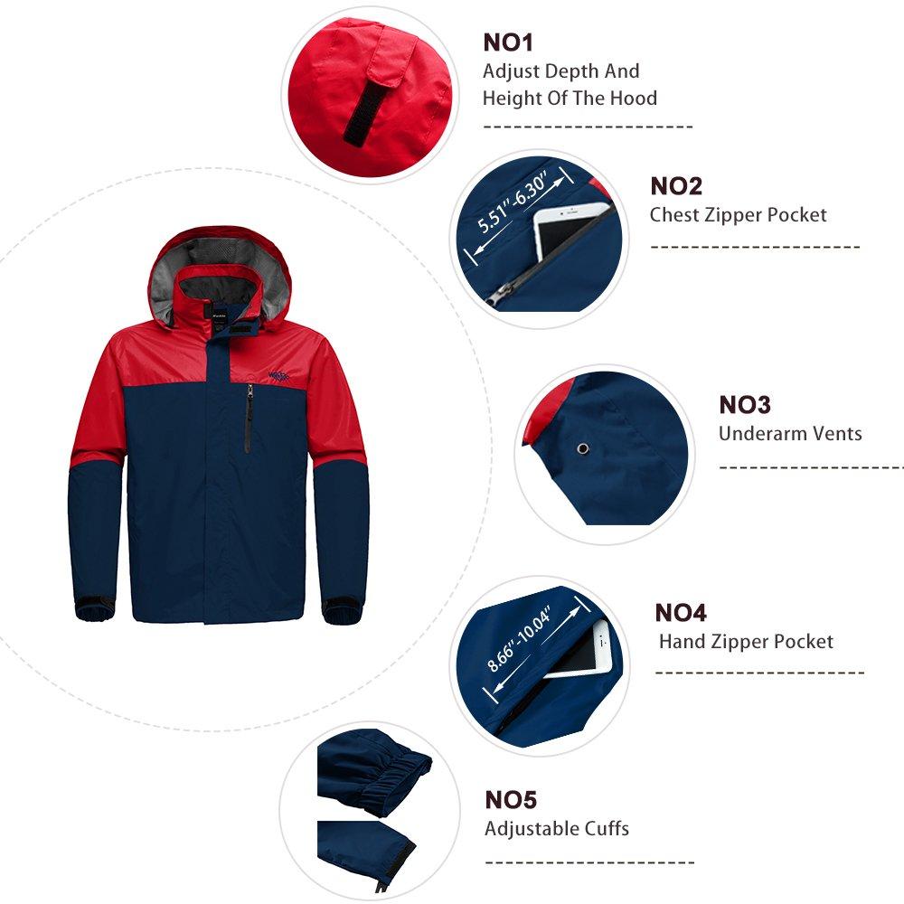 22a29f647 Wantdo Mens Breathable Waterproof Rain Jacket Outdoor Windproof Sportswerar  for Hiking Softshell Windbreaker with Hood WDHW370 ...