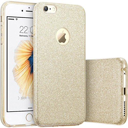 iPhone 6 Plus / 6S Plus Case, [Anti-Discoloration, Durable TPU Rubber] Twinkling Soft Stylish Design with Shiny Sparkling Glitter Stars