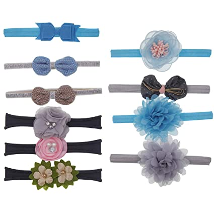 10 Unids Kids Floral Diadema Niñas Bebé Elástico Bowknot Accesorios  Hairband Set f272ae54538b