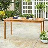 Wood Patio Table WE Furniture AZWSDTBR Outdoor Dining Table, 60