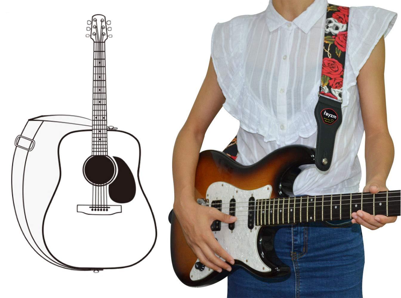 Rayzm correa para guitarra eléctrica/acústica y bajo con bolsillo para púa y 3 púas. Con diseño de Calaveras. 5cm de ancho. Longitud ajustable de 100cm a ...