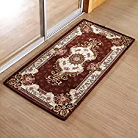 KEYAMA Acrylic Non-Slip Carpet Stair Treads Thicken Rectangle Jacquard parlor floral Area Rugs Classical doormats Stair corner matching landing carpet mats 20x32 Brown