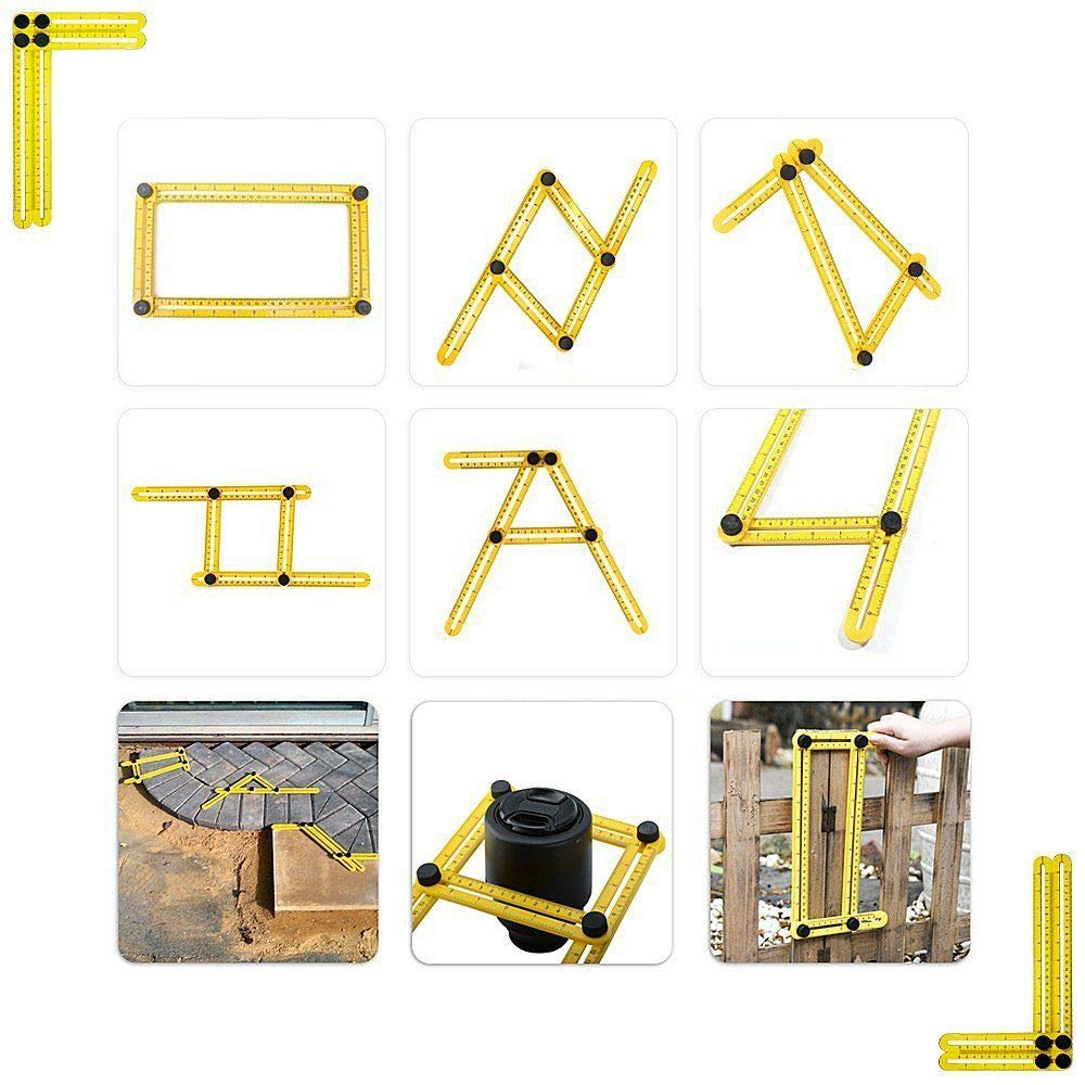 SANSUM Template Tool Multi Angle Measuring Ruler Measurement for All Angles Shapes DIY Craftsmen Handymen Builders Carpenter