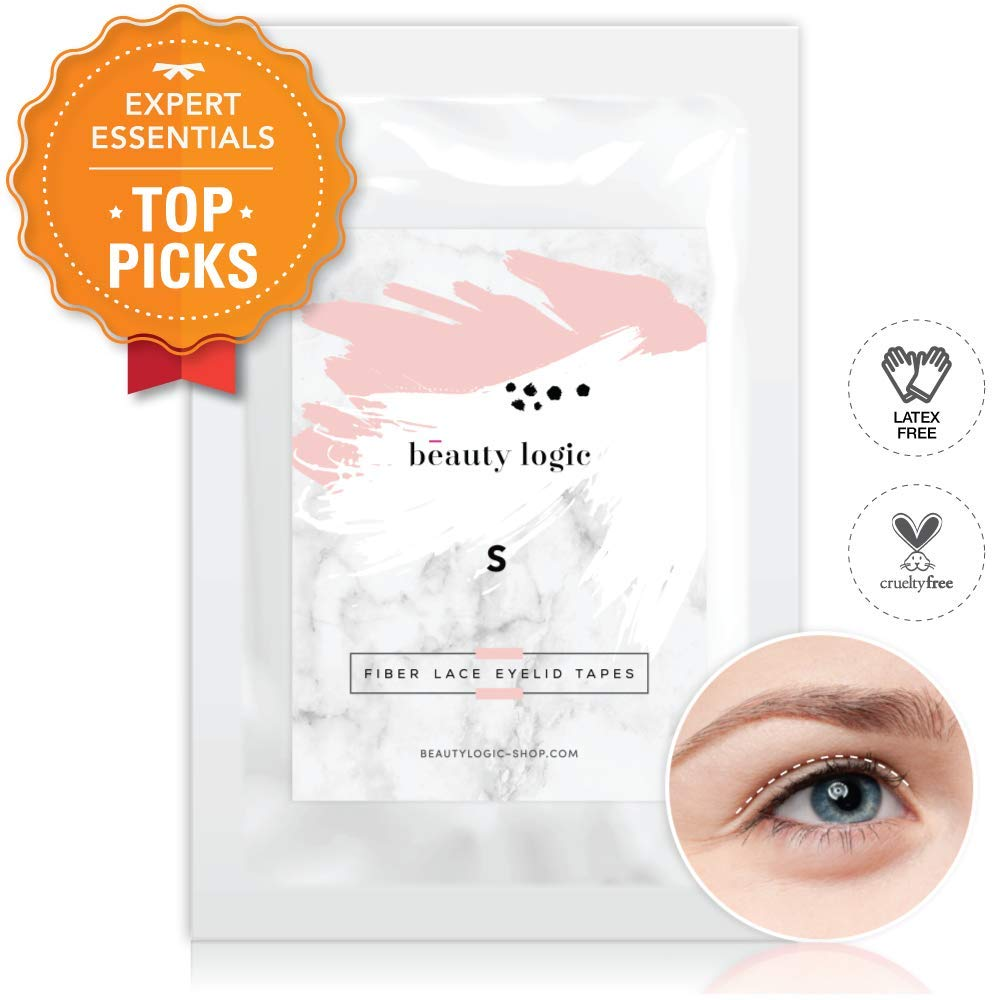 Beauty Logic Ultra Invisible Fiber Lace Eyelid Lift Kit-120pcs (Large) LATEX FREE, NON-SURGICAL - Instant Eyelid Lifting Tape perfect for hooded, droopy, uneven, or mono-eyelids, NO GLARE GUARANTEED