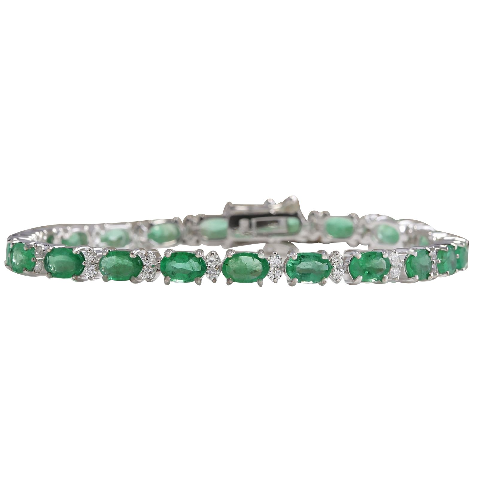 10.17 Carat Natural Green Emerald and Diamond 14K White Gold Luxury Tennis Bracelet for Women