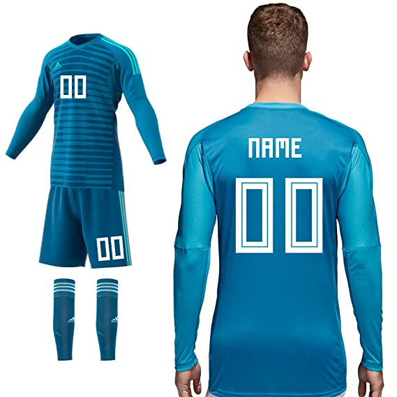 adidas Torwart Home Blau Set Bestehend aus Trikot Hose Stutzen Saison 2018/19