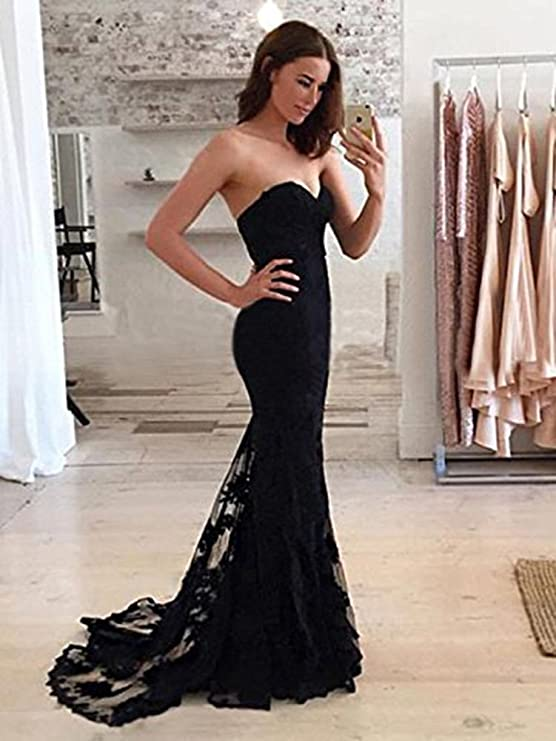 Simple Sweetheart Neckline Lace Prom Dress Mermaid Bridesmaid Long Evening Dress at Amazon Womens Clothing store: