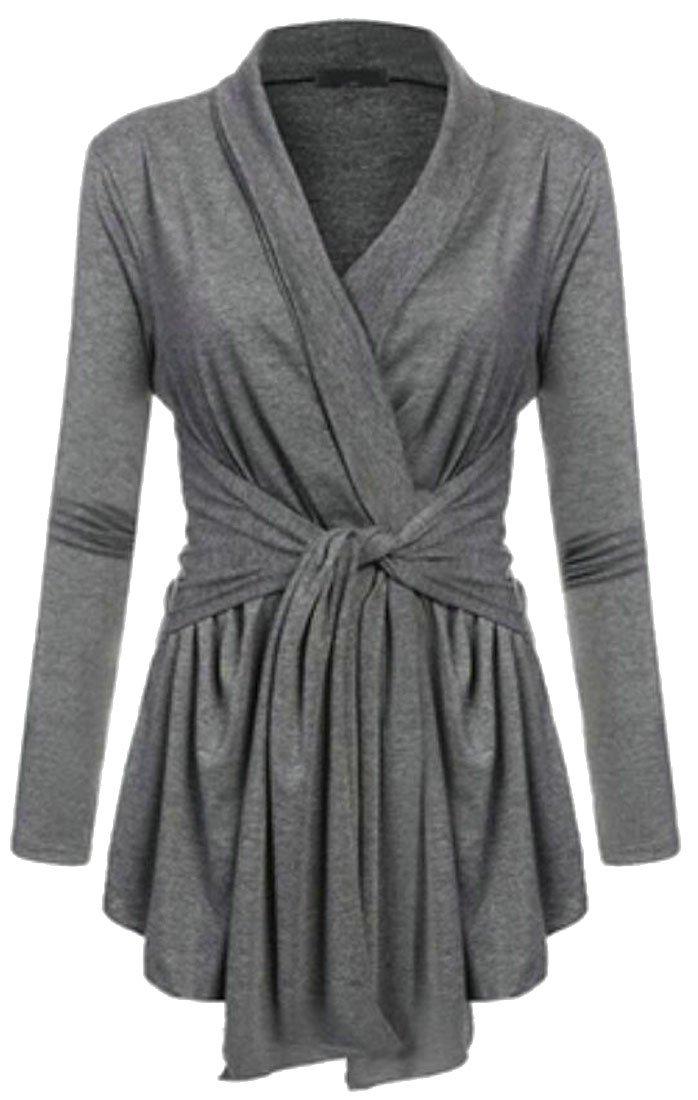 FLCH+YIGE Women's Elegant Pure-Colored Long Sleeve Cardigan Tops Blouses Grey XL