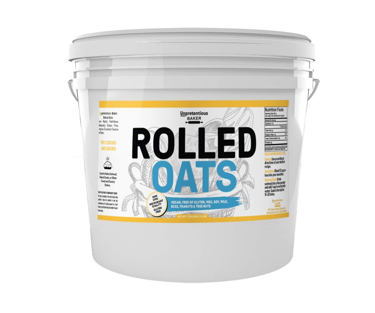 Rolled Oats, 1 Gallon Bucket, by Unpretentious Baker, Highest Quality, Old Fashioned Oats, Whole Grain, Naturally Gluten Free, Vegan, Non-GMO, Excellent Source of Fiber by Unpretentious Baker